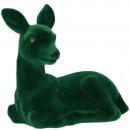 Plastic fawn tasko, flocked, L21cm, emerald
